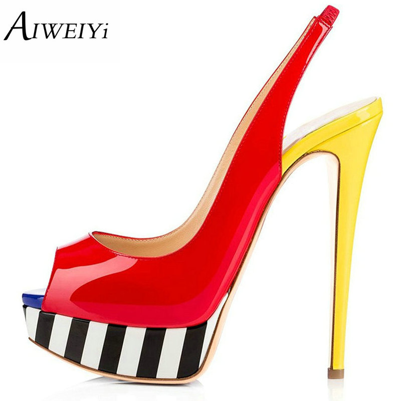 AIWEIYi 2018 Summer Autumn Open Toe Shoes Woman Stiletto High Heels Fashion Platform Wedding Shoes Woman Dress Party Pumps aiweiyi 2018 summer women shoes pointed toe stiletto high heel pumps dress shoes high heels gold transparent pvc shoes woman