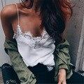 Sexy Sheer White Lace Tank Top Camis Mujeres V cuello de Seda de Imitación Correa de deslizamiento femme feminino mono mujer corto Tee