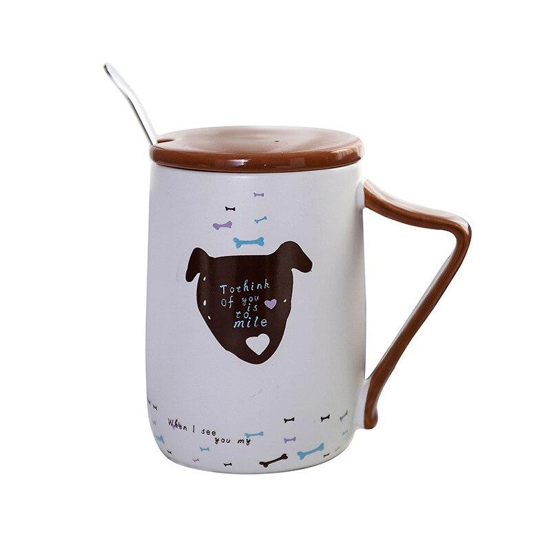 490ml creative cartoon animal coffee mug coffee cup with lid and spoon large capacity round ceramic cup cute kitten puppy mug