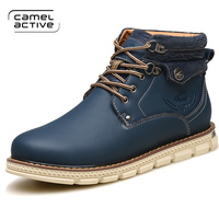 Camel Active Genuine Leather Ankle Boots For Male Botas Plush Men Boots Warm Winter Shoes With