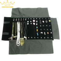Portable Black Velvet Jewelry Display Rolls Travel Organizer Multi Functional Bag Foldable Earring Ring Chain Necklace