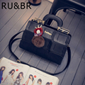 RU&BR Geometric Pattern Shoulder Bag New Fashion Grids Hairball Messenger Bag PU Leather High Quality Soild Color Woman Handbags