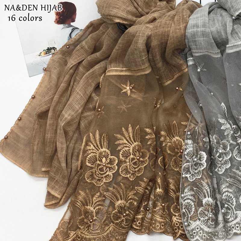 NEW pearl hijab scarf lace shawl embroidery fashion women scarves shawls brand wrap soft muffler luxury