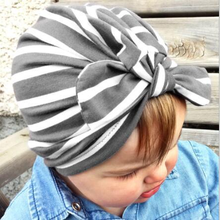 10pcs 2018 Girls Boys Soft Striped Turban Bunny Ear Knot Cap Beanie Hat Rabbit Ears Knot Muslim Hat Bohemian Hat