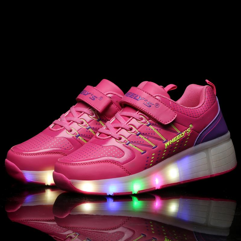 ФОТО Led Kids Shoes 2016 New Children Shoes Jazzy Junior Girls LED Light Shoes Roller Skate Shoes Children Kids Sneakers With Wheels