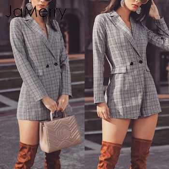 JaMerry Office lady elegant plaid blazer jumpsuit Fake two pieces women playsuit Plus size romper short pants work streetwear plus size short overalls