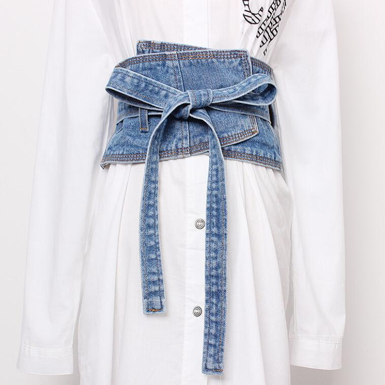 Women's Runway Fashion Vintage Denim Cummerbunds Female Dress Corsets Waistband Belts Decoration Wide Belt R1421