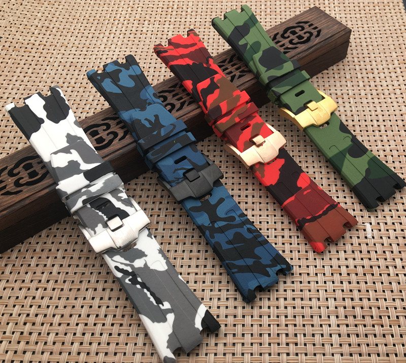 For AP Silicone Watch Belt Rubber Watchband Sports Camouflage Camo Band 28mm Men Bracelet For Audemars And Piguet Strap Logo On