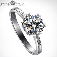 JewellWang Alps Snow 0 5CT Certified D To F IF Saline Lake Moissanites Engagement Ring 18K