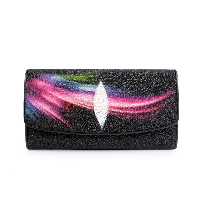 Unique Designer Female Phone Holder Genuine Stingray Skin Lady Long Trifold Card Wallet Exotic Leather Women