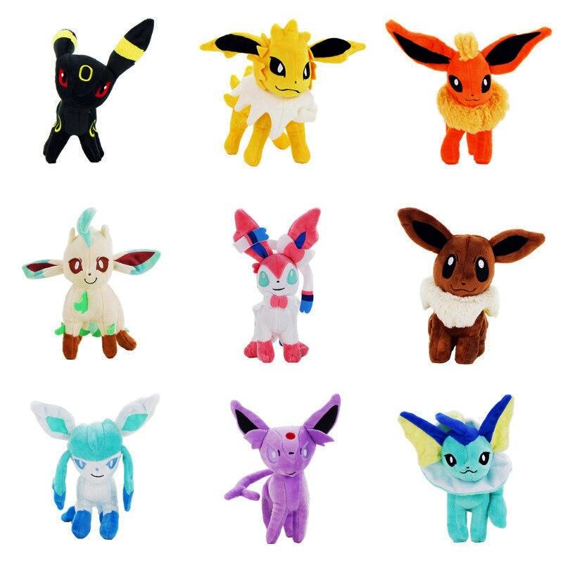 9Styles 22CM Stand Eevee Sylveon Espeon Flareon Umbreon Glaceon Jolteon Vaporeon Leafeon Stuffed Animals plush Toys