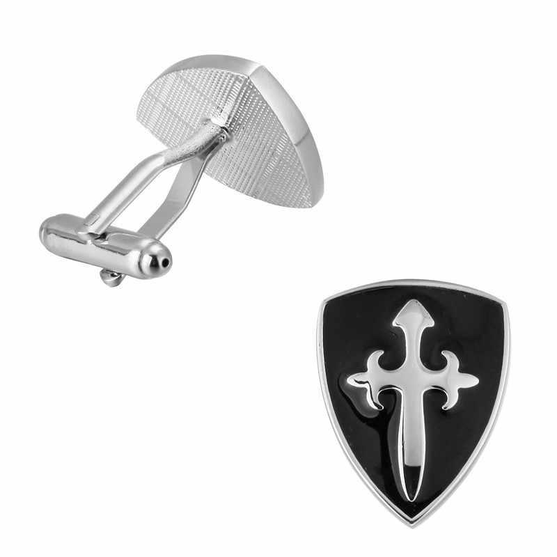KC модный серебряный черный крест щит запонки высококачественный медный материал мужская рубашка с длинными рукавами свадебный подарок-Запонки