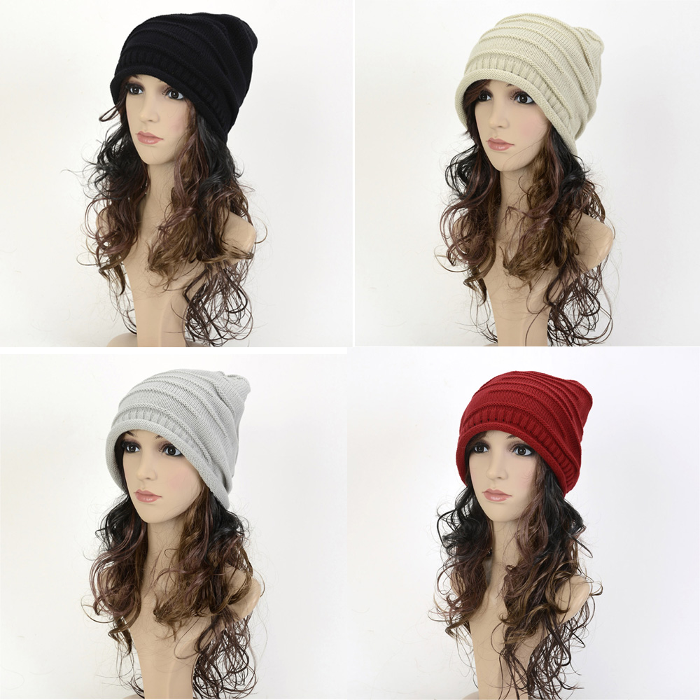 Unisex Women Ladies Knitted Winter Warm Ski Hat Slouch Oversized Beanie Cap HATBD0012