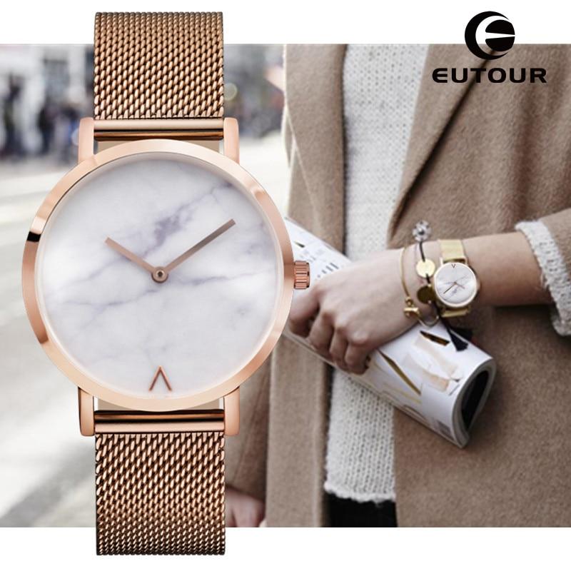 Eutour Geneva Woman Fashion rose gold watch Minimalist Hot Marble Watches Clock ladies wrist watch for