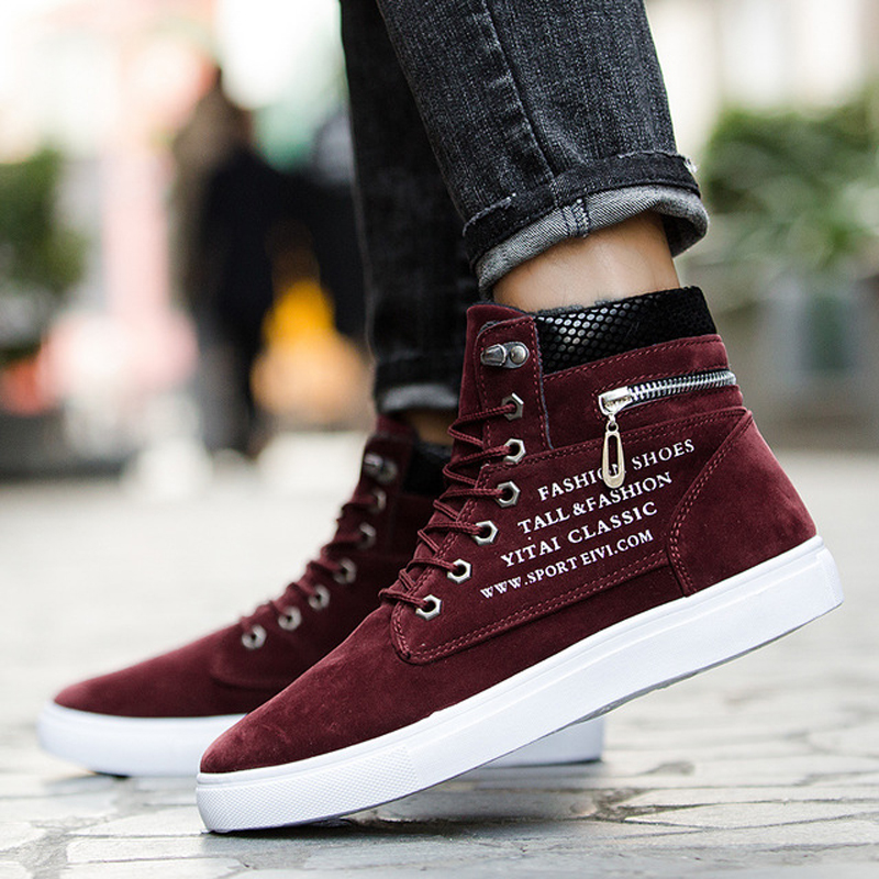 Big Size Shoes Spring Autumn Men 39 s Skateboarding Shoes High Top Sneakers Men British Style Comfortable Skateboarding Sneakers in Skateboarding from Sports amp Entertainment