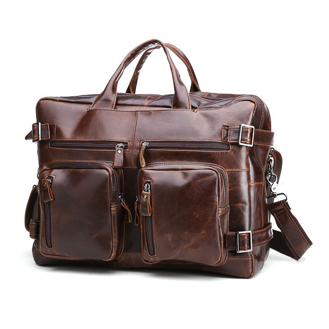 32d7560d638c Top Quality Genuine Leather Briefcase Men Bag 15 Inch Laptop Soft Cowhide Messenger  Bag Handbag Men s