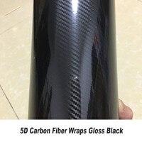 Глянцевая 5D виниловая пленка из углеродного волокна для автомобилей, 5ft X 65ft/рулон, оптовая продажа, наклейки, аксессуары