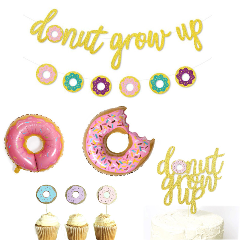 Donut Baby Shower Boy/Girl Decor Sweet One 1th Birthday Party Balloons Supplies Cake Topper Grow Up