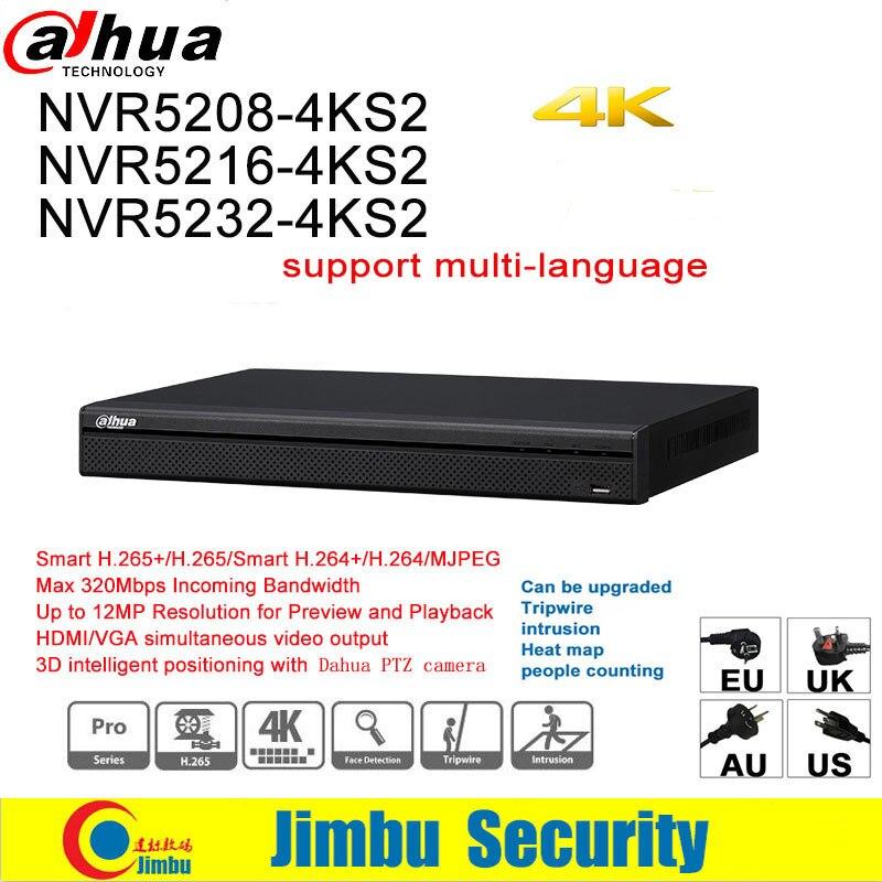 Dahua NVR 4K NVR5208 4KS2 NVR5216 4KS2 NVR5232 4KS2 up to 12Mp H 265 8 16