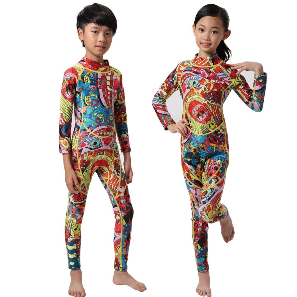 все цены на Hisea kids wetsuit full body suit 3mm/2mm neoprene boys girls winter swimwear rash guard