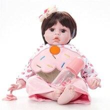 American Girl Boneca Bebe Reborn de Silicone Bonecas Reborn Bebê Silicone Macio Boneca Reborn Bonecas Realistas SB5007 Crianças Brinquedos Tsum Tsum
