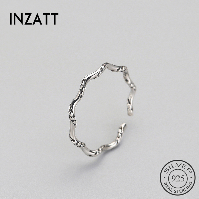 INZATT Vintage Minimalist Personality Wave Punk Ring 2018 Genuine 925 Sterling Silver Fine Jewelry For Women Birthday Party Gift