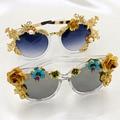 Fashion baroque metal accessories women sunglasses female vintage flower outdoor Big Frame sunglasses elegant personalized