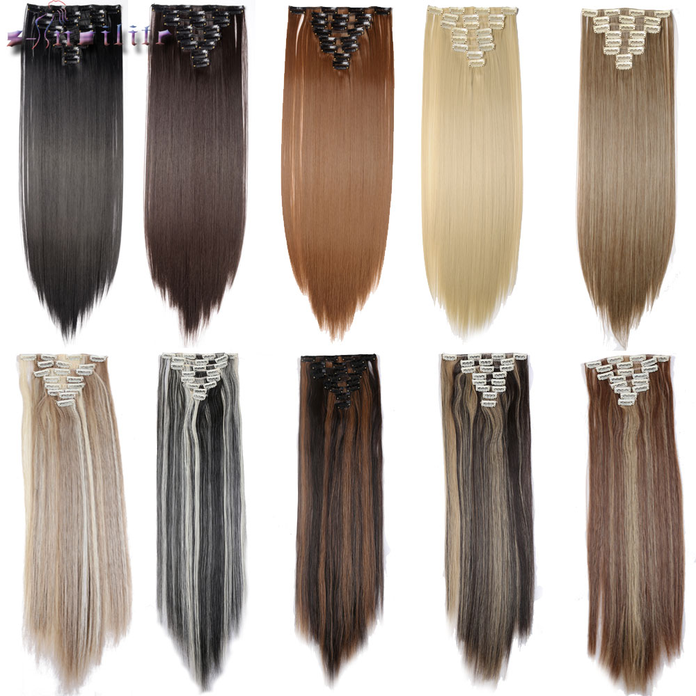 8 Piece 18Clips on Clip in Hair Extensions Full Head Black Brown Blonde Auburn Synthetic Heat Resistant Hair Extension monochrome