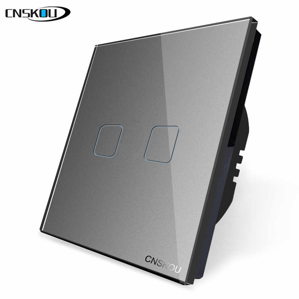 CNSKOU LED EU Touch Light Swiches Interruptor Screen Switch 2 Gang 1 Way Black Crystal Glass Panel AC 220V 250V