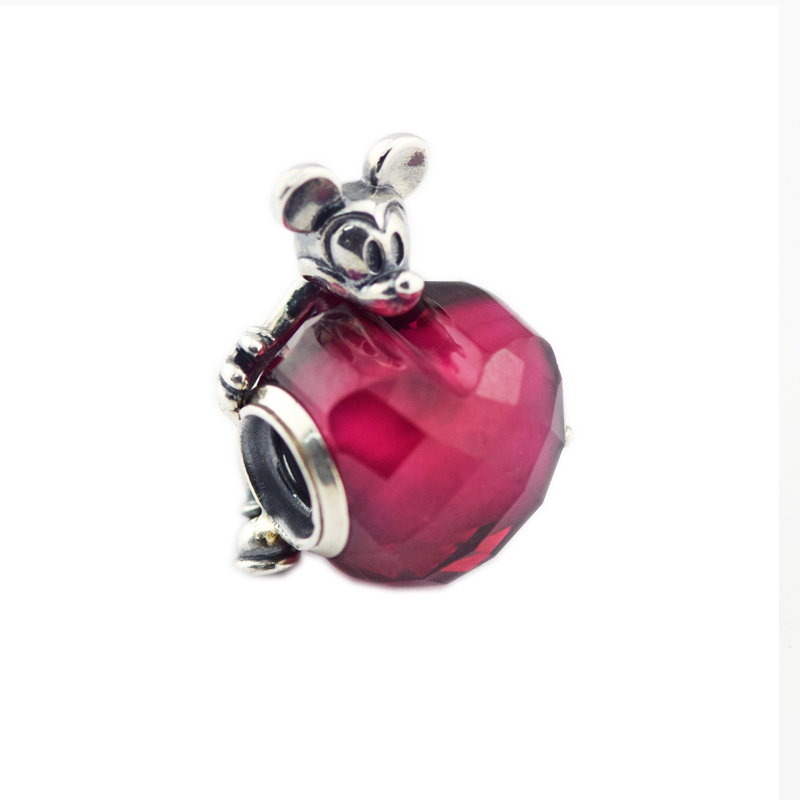 DIY Beads for Jewelry Making Sterling-Silver-Jewelry Mickey Love Heart Bead Red CZ Charms Silver 925 Berloque Perles DIY Beads for Jewelry Making Sterling-Silver-Jewelry Mickey Love Heart Bead Red CZ Charms Silver 925 Berloque Perles