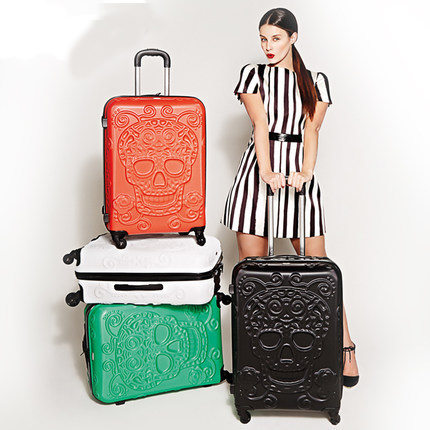 Fashion Skull Pattern Luggage Trolley Bag on wheels Travel Suitcase Travel Rolling Bag Baggage Suitcase Duffle Case недорго, оригинальная цена
