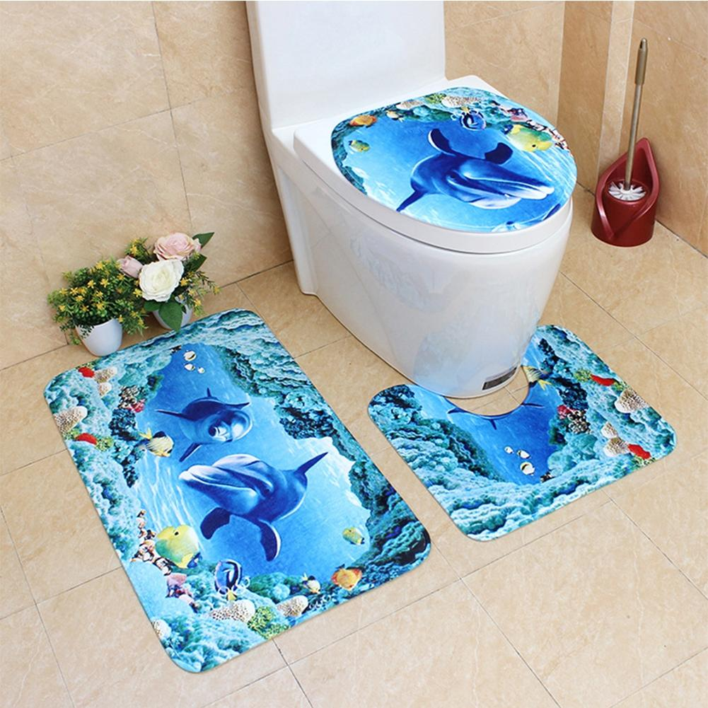 Adeeing 3Pcs/Set Cute Creative 3D Sea Ocean Fish Shell Animals Bathroom Rug Toilet Lid Cover Mat Set