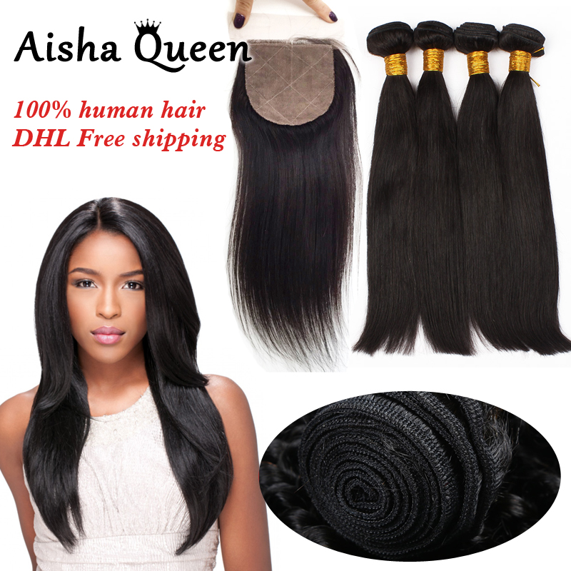 Aisha Queen Straight Brazilian Human Hair 4 Bundles with 1 Silk Closure 4x4 Natural Black Remy Hair ...