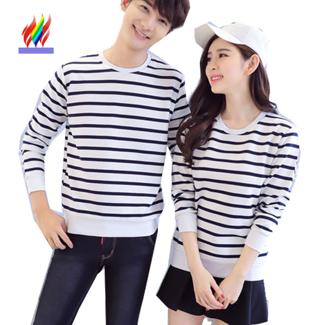 8ea0248b5a96 Autumn Winter Pullovers For Lovers Couples Clothes Casual Tops White Black  Blue Stripe Cute Korean Couple Sweatshirt Hoodies 729