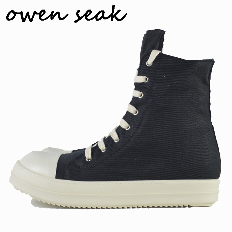Owen Seak Men Canvas Shoes Luxury Trainers Ankle Boots Lace Up Sneaker Casual Brand Zip High