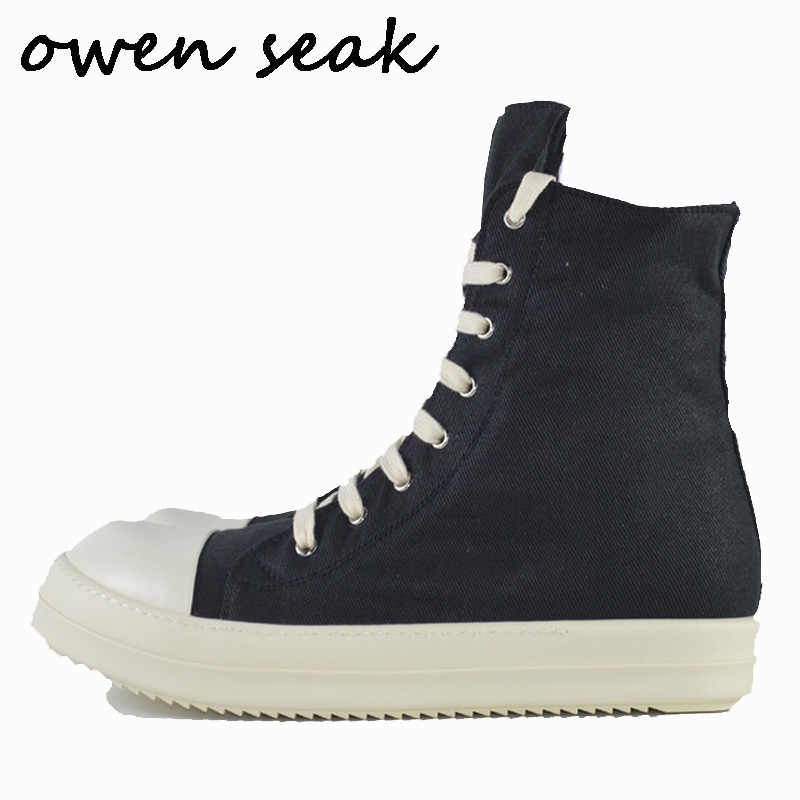 Owen Seak Mannen Canvas Schoenen Luxe Trainers Enkellaarsjes Lace Up Sneaker Merk Zip High-TOP Flats Man zwarte Schoenen Big Size
