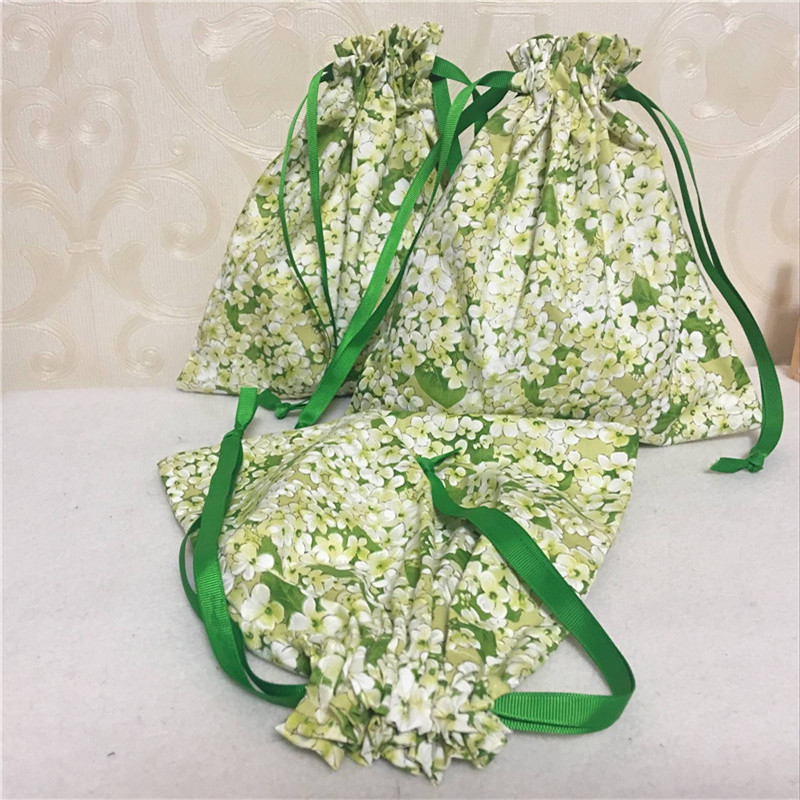 YILE Cotton Twill Drawstring Travel Sorted Organizer Bag Party Gift Pouch Green Flower 8507-6