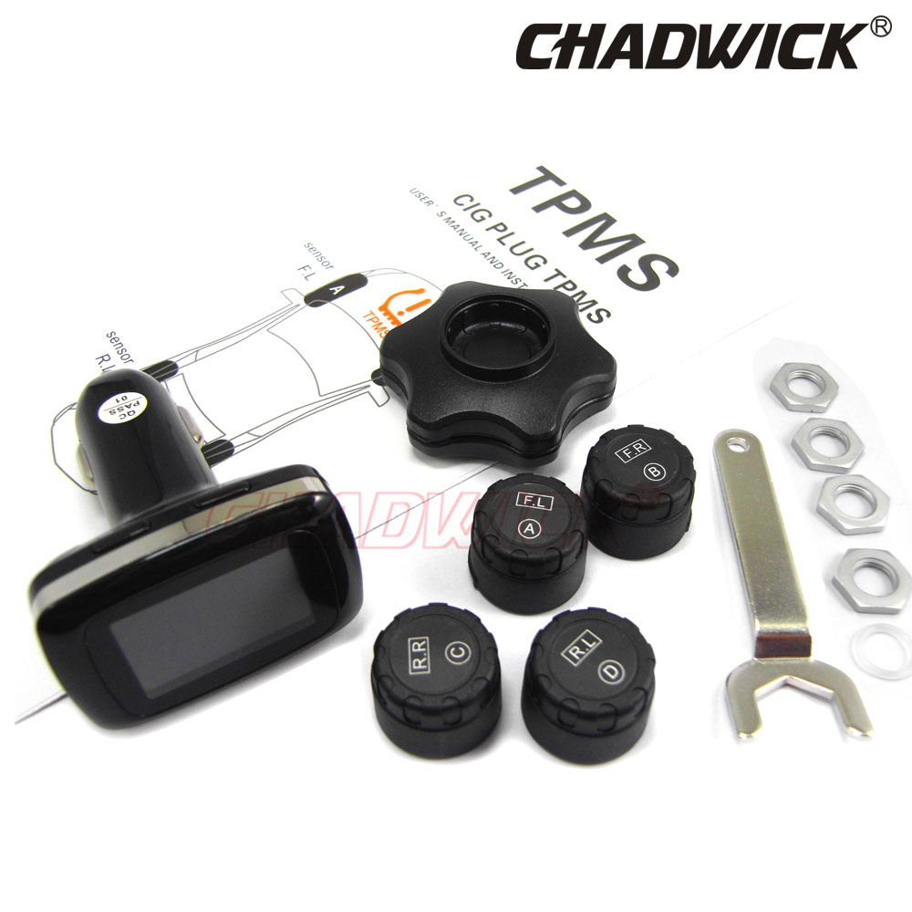 TPMS Wireless Digital Tire Pressure Monitoring System 12V External Sensor Car Alarm accessory safety CHADWICK TP620 cigarette-in Tire Pressure Alarm from Automobiles & Motorcycles