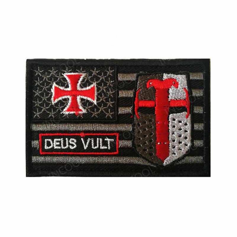 3D Christian Cavaliere Templare Zona Del Ricamo US American Flag Morale Militare Toppe e Stemmi Tattica di Combattimento Emblema Ricamato Distintivi e Simboli
