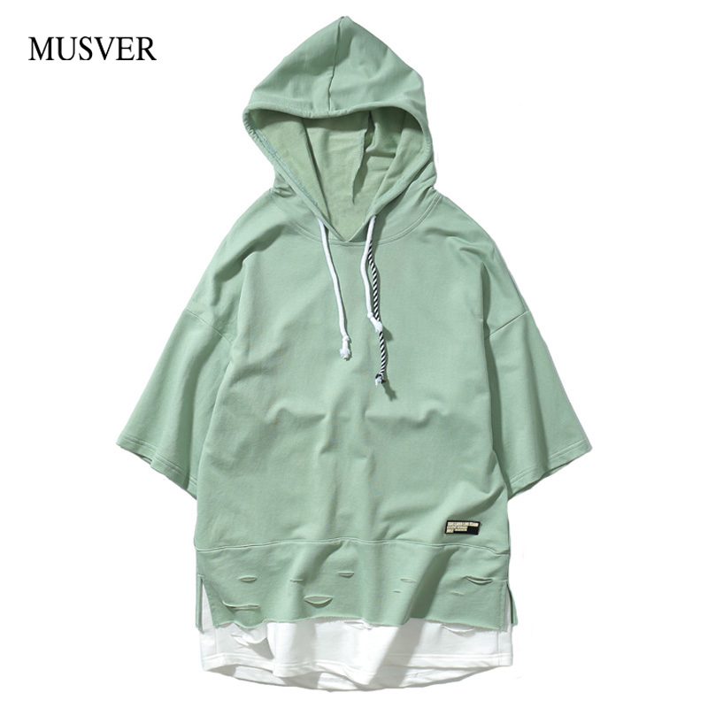 MUSVER 2017 Summer Fashion Men Drawstring Hooded T-Shirts Stitching Extend Black Green Hip Hop Short Sleeve Ripped Loose T Shirt