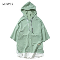 MUSVER Streetwea Hooded T Shirts Men 2017 Summer Fashion Cotton Green Hip Hop Half Sleeve Loose