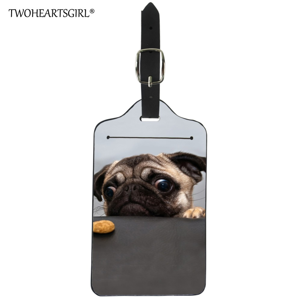 Twoheartsgirl Cute Pu Leather Pug Dog Print Travel Luggage Tag Travel Accessories Suitcase Name Label Cute ID Address Tag Holder