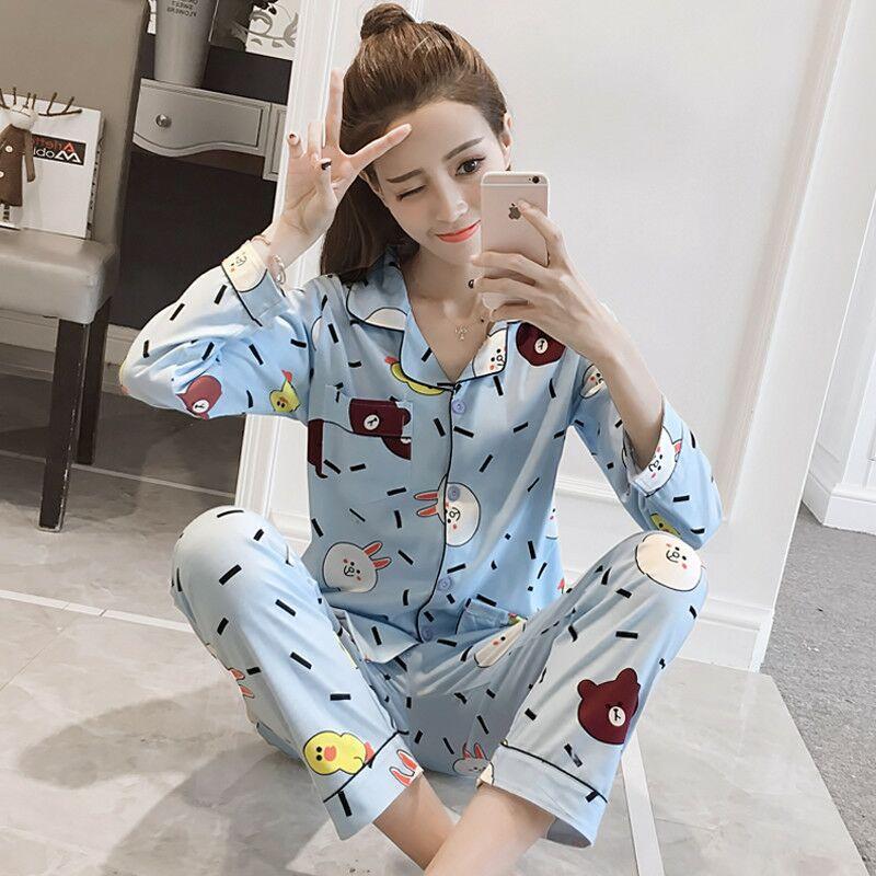 2 Piece Spring Autumn Women   Pajamas     Set   Carton Casual Homewear Long Sleeves Turn-down Collar Female Flower Sleepwear Suit