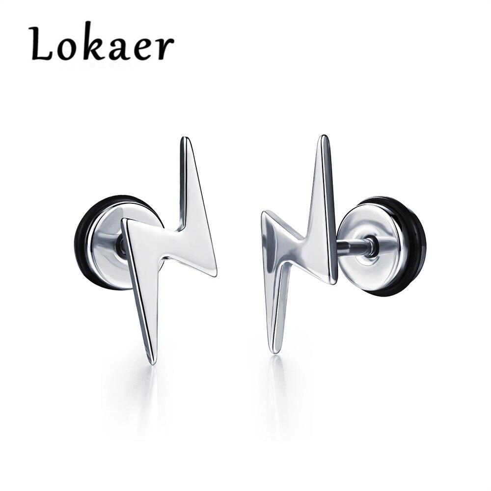 Lokaer Trendy Lightning Logo Men Titanium Steel Stud Earring Hiphop/Rock Design White Gold Color Earrings Jewerly For Boy LGE323