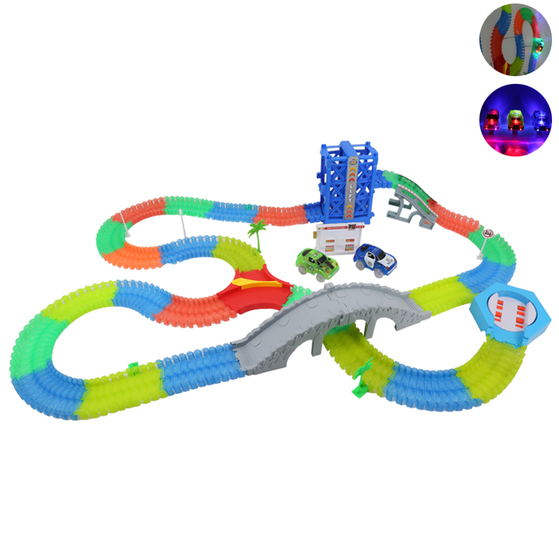 Magical Funny Glowing Race Track Glow In The Dark Racing Car DIY Track Accessories Gifts Educational Toys For Children Kids