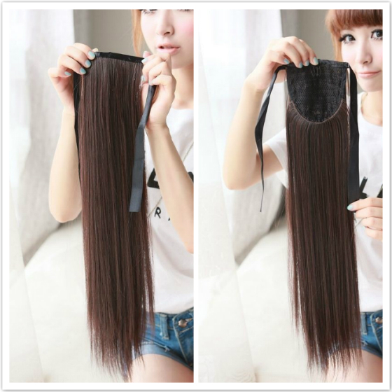 Ribbon Ponytail Straight Clip In Hair Extensions Hot Resistent