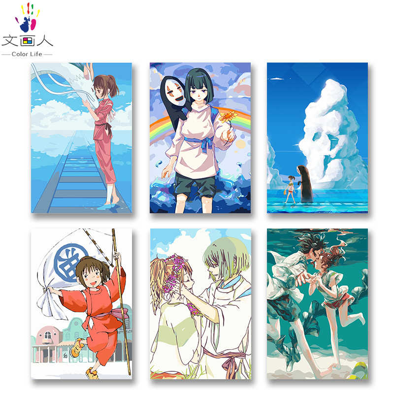 DIY colorings pictures by numbers with colors Spirited Away Hayao Miyazaki anime picture drawing painting by numbers framed