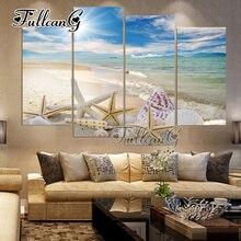 FULLCANG 5pcs diy diamond painting beach shell  full drill 3d cross stitch mosaic embroidery multi-picture decor gift G1193