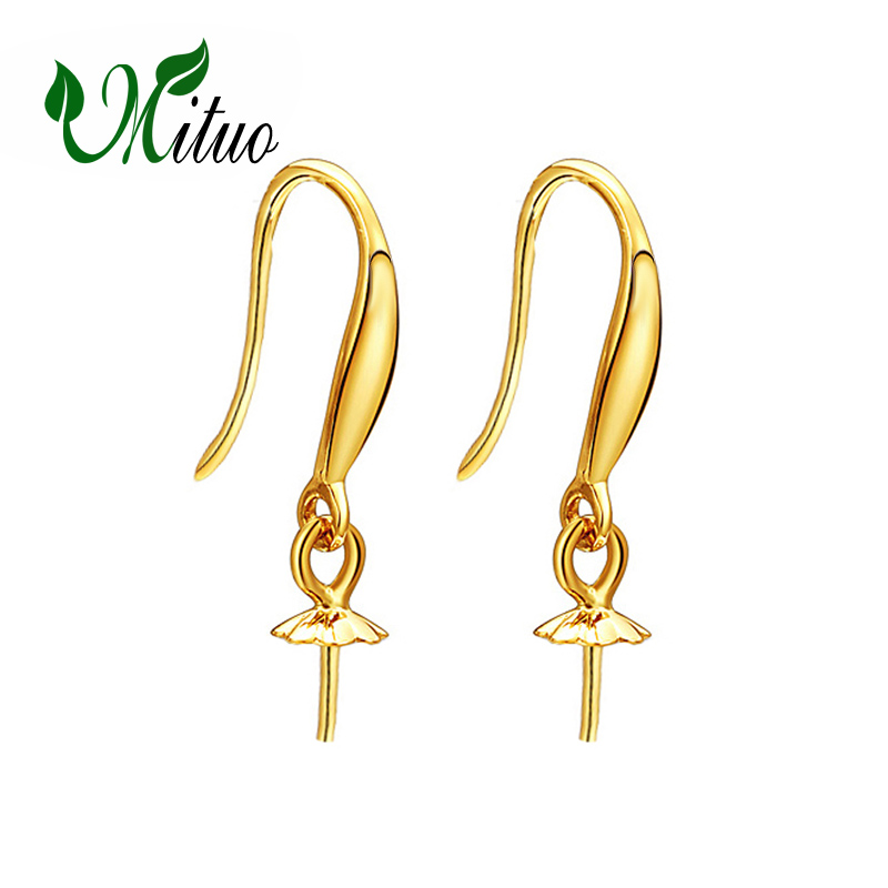 MITUO 18k gold earrings gold pearl jewelry, 18K Gold stud earrings For Women Fashion gold earrings for pearl Accessories браслет на ногу other 18k