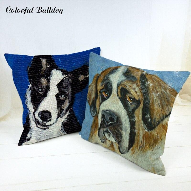 Cushion Cover Saint Bernard Australian Shepherd Italian Greyhound Miniature Pinscher Pillow Case Sofa Home Car Seat Decorative